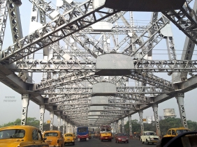 Howrah Bridge is a cantilever bridge with a suspended span over the Hooghly River in West Bengal, India.