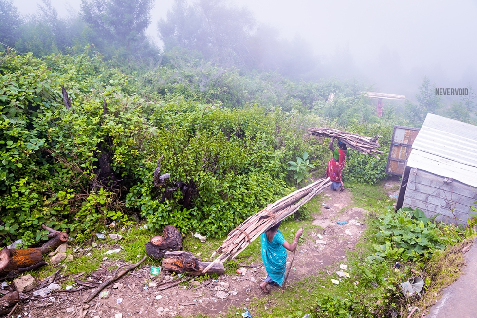 Pictures of Women gather wood and enter into the Poombarai village